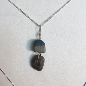 Sterling silver with genuine petosky and blue